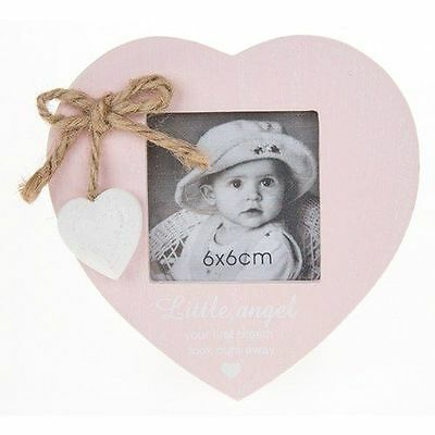 Provence New Baby Girl Heart Photo Picture Frame & hanging heart - Pink 6 x 6cm