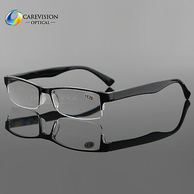 Men's Spring Hinge Temple Half Rimless Reading Glasses Reader Black +1.00~4.00