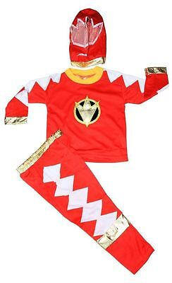 New Size 2-12 Kids Child Superhero Ranger Red Party Costumes Boys Mask Heroes