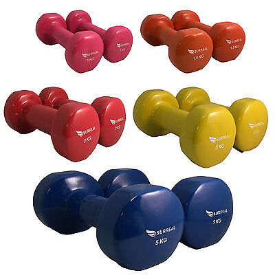 Set of 5 Pairs -1 -5KG Vinyl Dumbbell Weights Strength Ladies Training  Aerobic