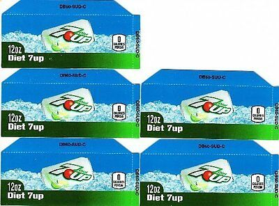 7-Up Diet Labels - 5 Small 12 oz Can Soda Vending Machine Flavor Calories Labels