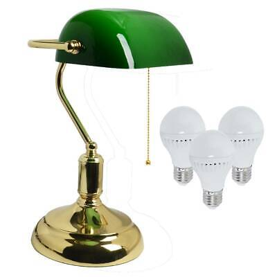 LED Vintage Retro Bankers Desk Light Table Lamp Study Office Antique Brass Green