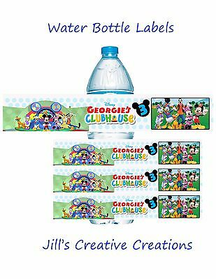 Mickey Mouse Clubhouse Water Bottle Labels, Water Bottle Labels, Mickey, Party