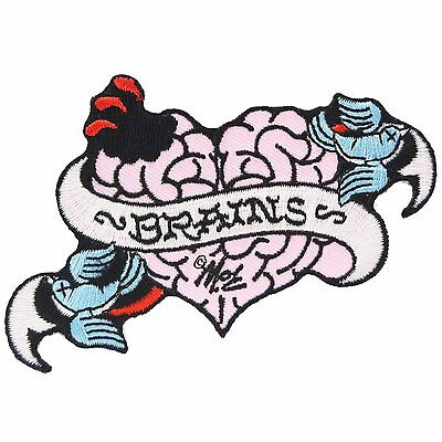 Tattoo Heart Brains Iron On Patch Punk Horror Zombie Swallows Mitch O'Connell