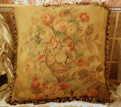 "20"" Vintage Woven Arts 18-19th C. Reproduction French Aubusson Sofa Pillow"