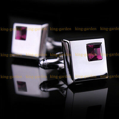 Mens Stainless Steel Square Business Shirt Wedding Cufflinks with Purple Crystal
