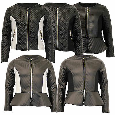 girls biker jacket kids diamond quilted PVC leather look baseball style zip new