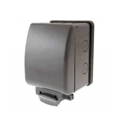 Click - 1 Gang Single Weatherproof Socket IP66 - OA035AG