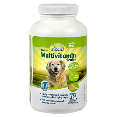 8 in 1 Excel Time Release Multi-Vitamin Tabs Senior Dogs 100ct (Free Shippin