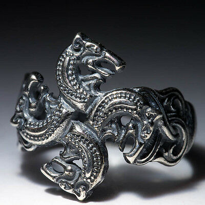 Wolf Heads Ring, Celtic Style, sterling silver, adjustable size, handmade