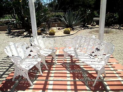 Antique Coalbrookdale Style Cast Iron Blackberry & Fern Pattern Garden Furniture