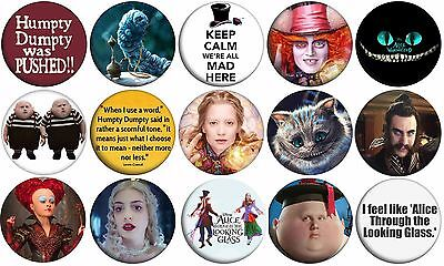 "ALICE THROUGH THE LOOKING GLASS - Lot of 15 - Pin Back - 1"" Buttons Set A"