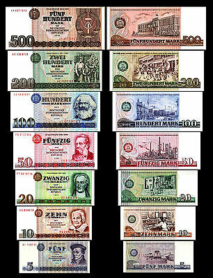 * 5 - 500 Mark-German Democratic Republic-  - Issue 1971 - 1989 - 7 Banknotes *