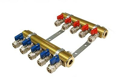 "Brass Heating Manifolds 2-12 Ports with PEX Mini Ball Valve 16x1/2""M"