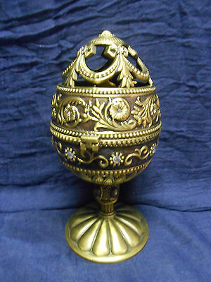 Egg Music Box Metal Intricate Jeweled Enameled Hinged Musical Butterfly