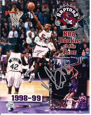 VINCE CARTER SIGNED 8x10 RAPTORS MONTAGE ROOKIE OF THE YEAR AUTOGRAPH SGC COA