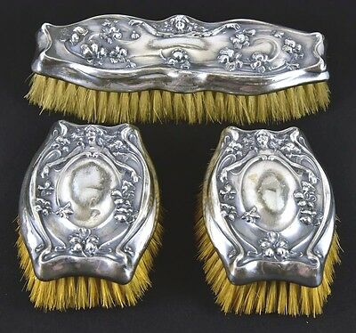 Antique Silverplate 3pc. Art Nouveau Vanity Brush Set. Derby Silver Co. Pat.1905
