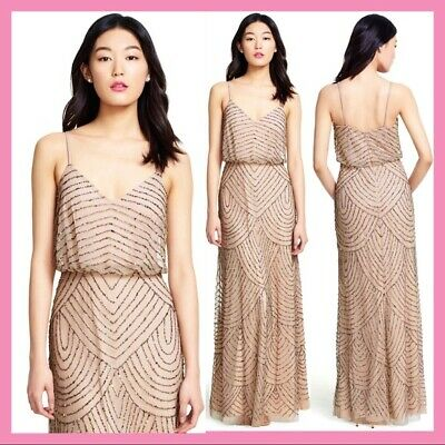 NWT Adrianna Papell Embellished Blouson Gown Taupe Pink [SZ 6P 6 8 10 12 14 ]#M2