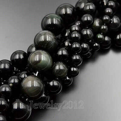 AAA Natural Rainbow Eye Black Obsidian Gemstone Round Beads 16mm 18mm 20mm 15""