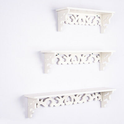 Set of 3 White Chic Filigree Floating Wall Shelves CD Book Display Storage Unit