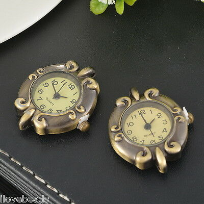 LOVE Retro Trendy Bronze Round Watch Face Tendril Embossed DIY Watch 5x