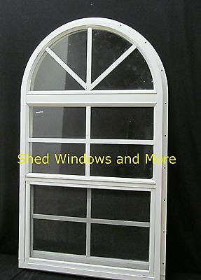 Arched Shed Window 18x32 Safety Glass White J-Channel Playhouse Shed Barn Tree