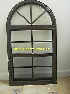 Arched Shed Window 18x32 Safety Glass Brown Playhouse Storage Shed Barn Coop