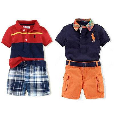 Cool Boys Kids Clothes Polo T-Shirt Open Collar Short Top+Shorts Pants Outfits