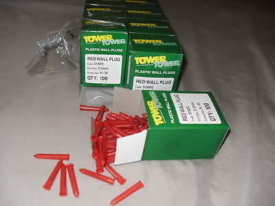 Tower (Scneider) 51AP2 Red Raw/Rawl/Wall Plugs 10 x 100 (1000 Plugs)