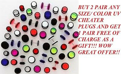 Fake uv Cheaters Illusion Ear Plugs Earrings 16G Look 2G 0G 00G 1/2""