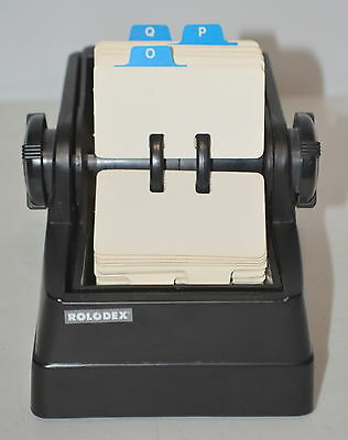Vintage ROLODEX Wheel with Alphabetical Cards Black
