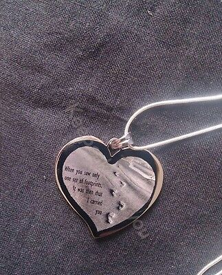 Footprints In The Sand - Personalised Engraved Large Heart Necklace