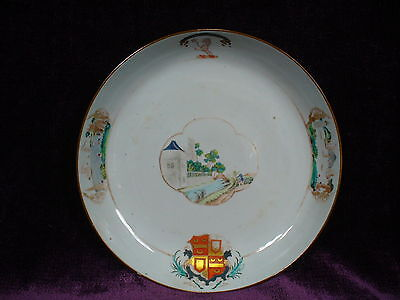 Antique 18C Chinese export famille rose armorial porcelain plate 10""