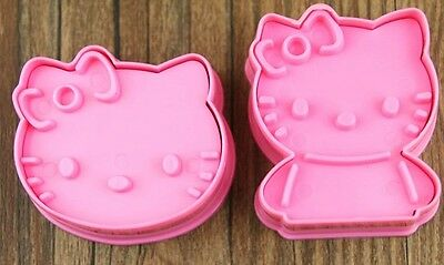 Lovely Hello Kitty 2pcs/set Cookie Mold Plastic Pink Decorating DIY Maker Tools
