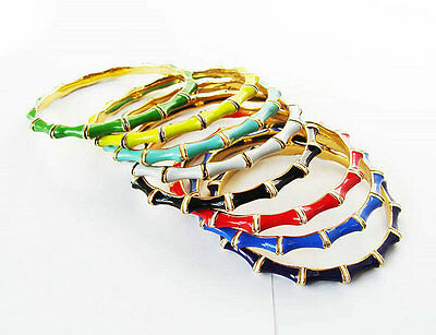 7Colors Enamel   Gold Plated  Dot Bangle Bamboo Thin Bangle  Bracelet