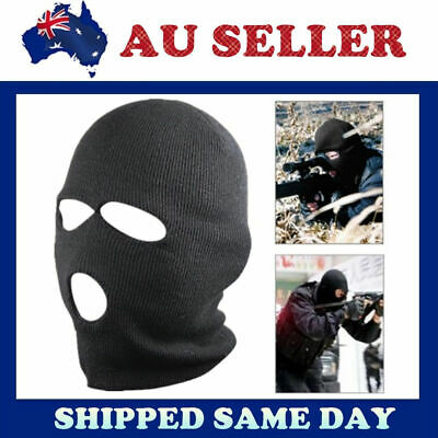 3 Holes Balaclava SAS Style Mask Neck Warmer Black Hat – Ski Paintball Fishing