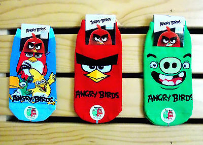 """Ravio Angry Birds Kids Ankle Socks - 3 different pairs/15~22cm = 5.9""""~8.5"""""""