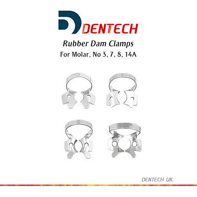 Rubber Dam Clamps Molar Restorative Dental Set Of 4 German Steel Ce New
