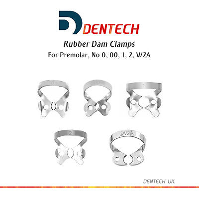 Rubber Dam Clamps Dental Restorative Premolar Set Of 5 German Steel Ce New