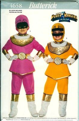 Butterick 4658 Girls Pink Yellow Power Rangers ZEO Costume Pattern UNCUT FF 4-14