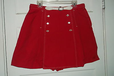 Gator Of Florida Red Vintage Skort Button Trim Usa Girls 18/20 Matching Belt