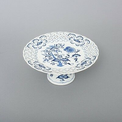 Blue Danube Porcelain Japan Round Pedestal Compote Cake Stand Pierced 10.25""