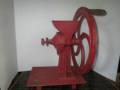 ANTIQUE Coffee Grinder CAST IRON Red STEAMPUNK Industrial VERY LARGE Rare