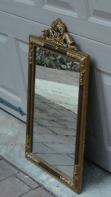 "Vintage Ornate Wood Carved Gilt Art Frame Mirror 24"" X 14"""