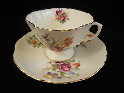 Hammersley Bone China Tea Cup & Saucer Set Floral Sprays Perfect England