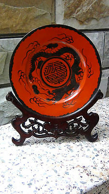 Antique Chinese Rare Red Coral Porcelain W/silver Dragon Plate On Rasewood Stand