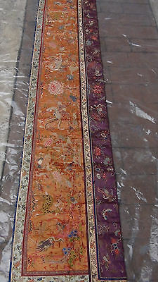 ANTIQUE 19c CHINESE FORBIDDEN STITCH POLICHROME SILK EMBROIDERY PHOENIX BANNER