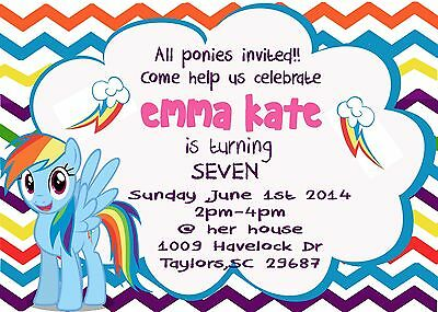 My Little Pony Birthday Invitations 5x7 Digital File