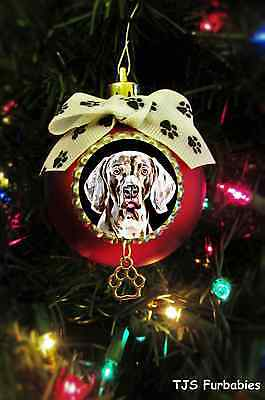 Weimaraner Painted Christmas Ball Ornament Pet Lover Gift by TJS Furbabies