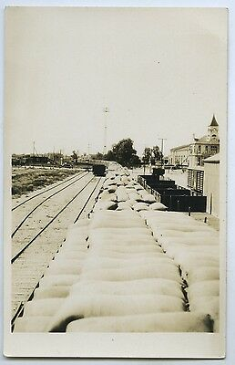 1920's Rp Postcard Wheat Freight Train Into Port Augusta From West Coast Sa O93.